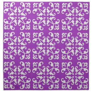 Lacy cutwork - white over amythyst purple cloth napkin