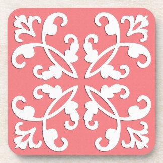 Lacy cutwork - white over azalea pink beverage coaster