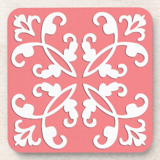 Lacy cutwork - white over azalea pink drink coaster