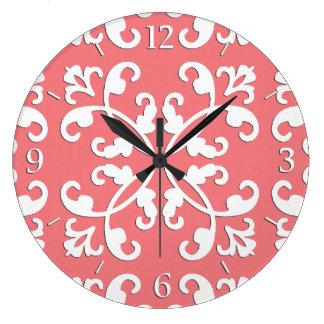 Lacy cutwork - white over azalea pink large clock