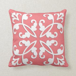 Lacy cutwork - white over azalea pink throw pillow