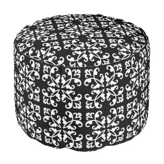 Lacy cutwork - white over black round pouf