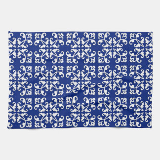 Lacy cutwork - white over lapis blue hand towel