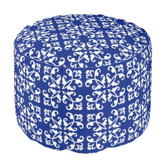 Lacy cutwork - white over lapis blue pouf
