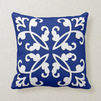 Lacy cutwork - white over lapis blue throw pillow