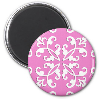 Lacy cutwork - white over orchid pink 2 inch round magnet