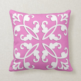 Lacy cutwork - white over orchid pink pillow