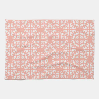 Lacy cutwork - white over peach swiss dots kitchen towels