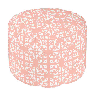 Lacy cutwork - white over peach swiss dots round pouf