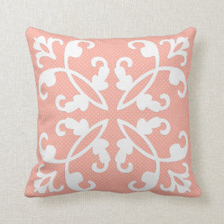 Lacy cutwork - white over peach swiss dots throw pillow