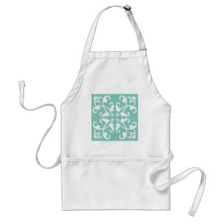 Lacy cutwork - white over seafoam green adult apron