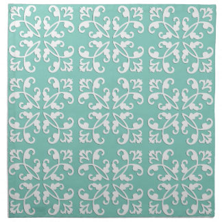Lacy cutwork - white over seafoam green cloth napkin