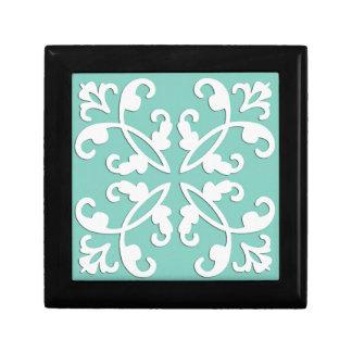 Lacy cutwork - white over seafoam green keepsake boxes
