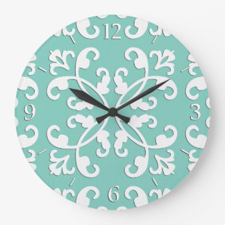 Lacy cutwork - white over seafoam green large clock