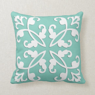Lacy cutwork - white over seafoam green pillow