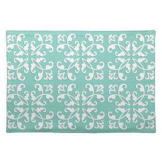 Lacy cutwork - white over seafoam green placemat