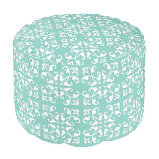 Lacy cutwork - white over seafoam green round pouf
