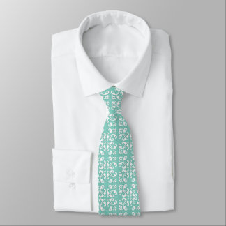 Lacy cutwork - white over seafoam green tie