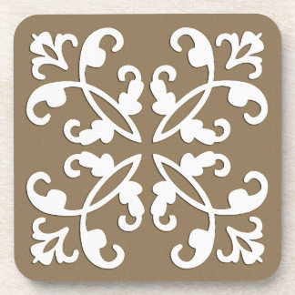 Lacy cutwork - white over taupe tan drink coaster