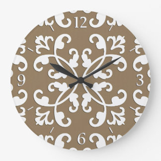 Lacy cutwork - white over taupe tan large clock