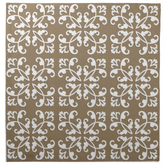 Lacy cutwork - white over taupe tan napkin