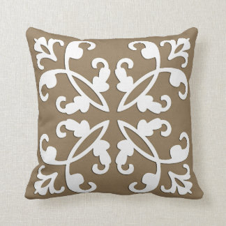 Lacy cutwork - white over taupe tan pillow