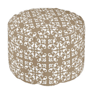 Lacy cutwork - white over taupe tan pouf