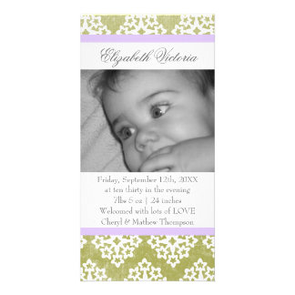Lacy Damask Birth Announcement