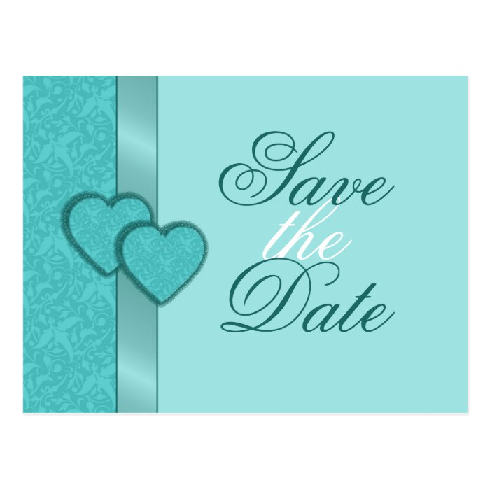 Lacy Damask Hearts Save the Date Postcard