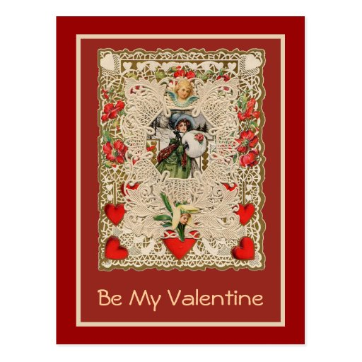 Lacy Design Victorian Valentine Greeting Cards Postcard