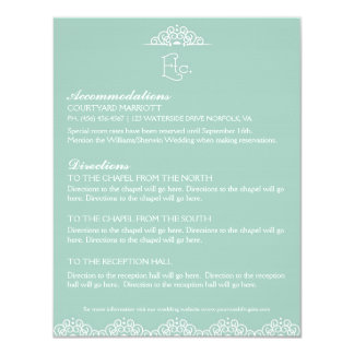 Lacy Doily Wedding Information Enclosure Card Mint Personalized Announcement