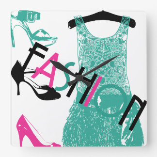 Lacy Dress in Turquoise Square Wall Clock