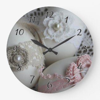 Lacy Easter Eggs Large Clock