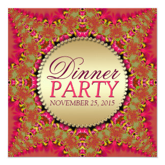 "Lacy Eastern Fusion Dinner Party Invitations 5.25"" Square Invitation Card"