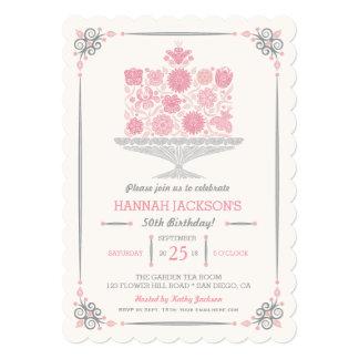 Lacy Flower Birthday Cake Invitation