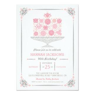 Lacy Flower Birthday Cake Invitation II