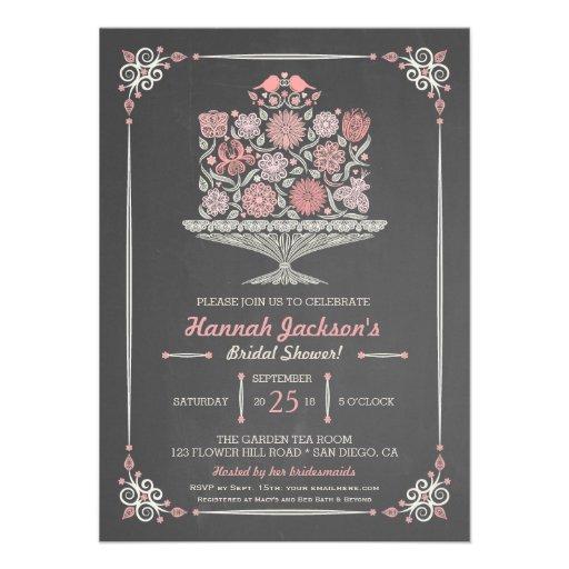 Lacy Flower Cake Bridal Shower Invitation II Custom Announcements