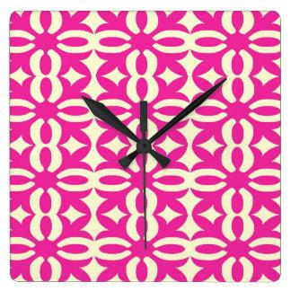Lacy Fuchsia Victorian Print Square Wall Clock