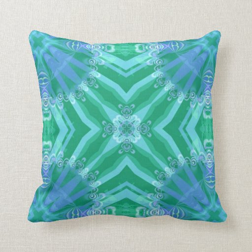 Lacy Geometric Green   Blue Pattern Pillow Cushion