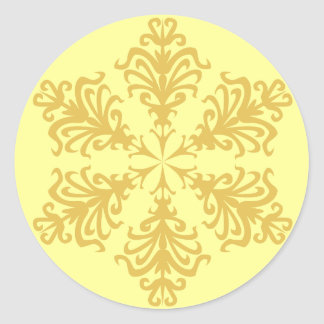 Lacy Gold Christmas Snowflake Classic Round Sticker