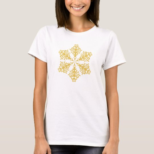 Lacy Gold Christmas Snowflake T-Shirt