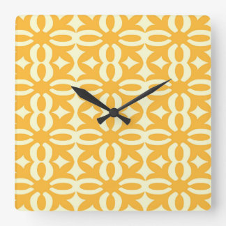 Lacy Gold Victorian Print Square Wall Clock