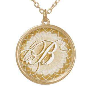 Lacy Gold Wedding Monogram Necklace