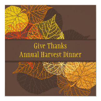 Lacy golden autumnal leaves Thanksgiving Dinner Card