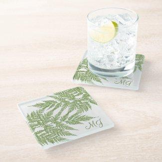 Lacy Green Fern Monogrammed Glass Coaster