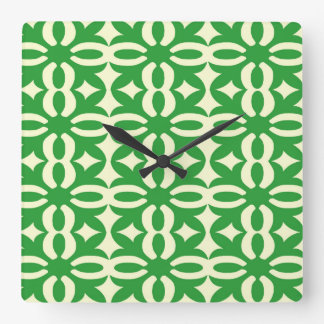 Lacy Green Victorian Print Square Wall Clock
