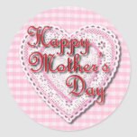 Lacy heart for Mom on Mother's Day Round Stickers
