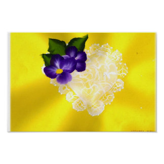 LACY HEART WITH PURPLE FLOWERS POSTER