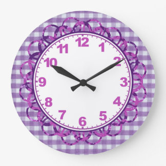 Lacy Lavender Gingham Clock with Numbers