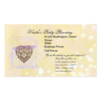 Lacy Lavender Heart Wedding Planner Card Business Card